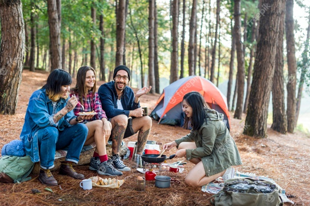 friends-camping-eating-food-concept_53876-92339