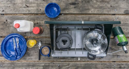 cooking pot on camp stove